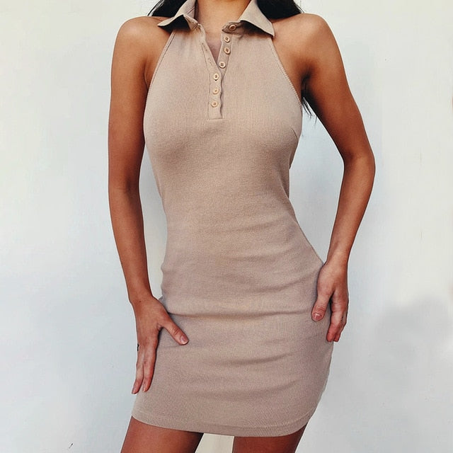 WannaThis Halter V-Neck Mini Dresses Front Button Backless Elastic Knitted Sexy Sleeveless Off Shoulder Summer New Elegant Dress