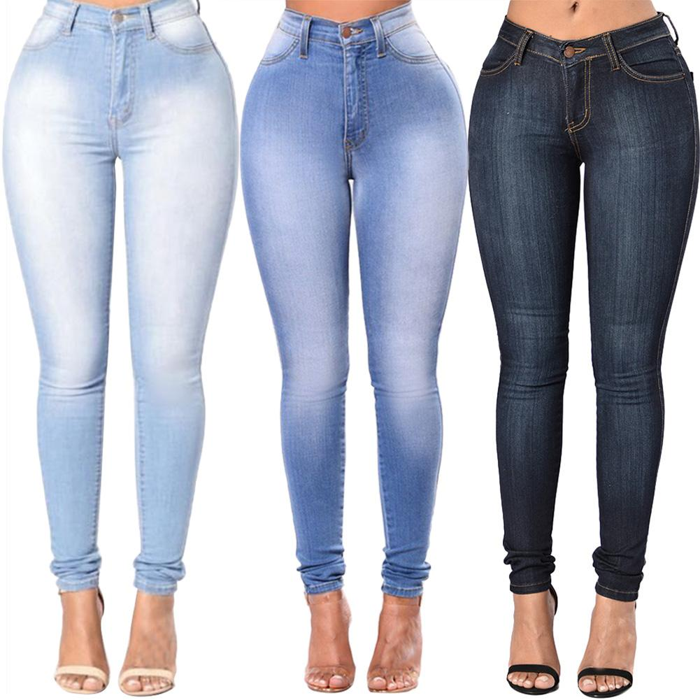 jeans woman  High Quality Fashion Women High Waist Elastic Skinny Jeans  Washed Denim Cowboy Streetwear Long Pencil Pants Trouse