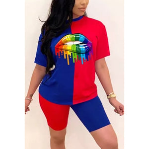 New Summer Women Fashion Rainbow Lip Print Sportswear Top and Shorts 2pc Set Ladies Casual O-Neck Pullover Short Sleeve T-Shirt