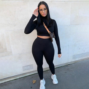 Winter Women Sport Fitness 2 Two Piece Set Outfits Long Sleeve Crop Tops Tshirt Leggings Pants Set Bodycon Tracksuit