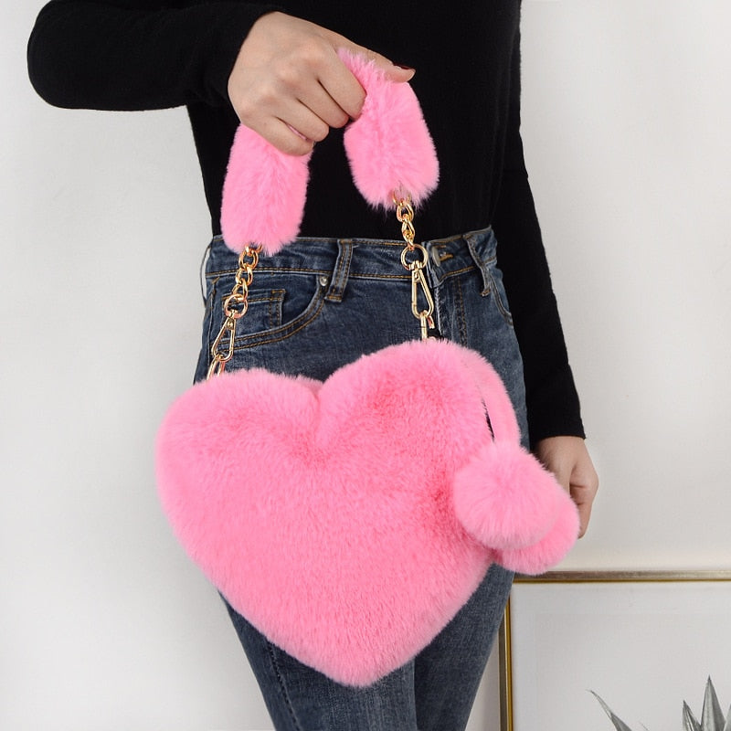 Solid Color Winter Faux Fur Shoulder Bags Heart-Shaped Crossbody Bags For Women Messenger Bag Small Chain Ladies Handbags