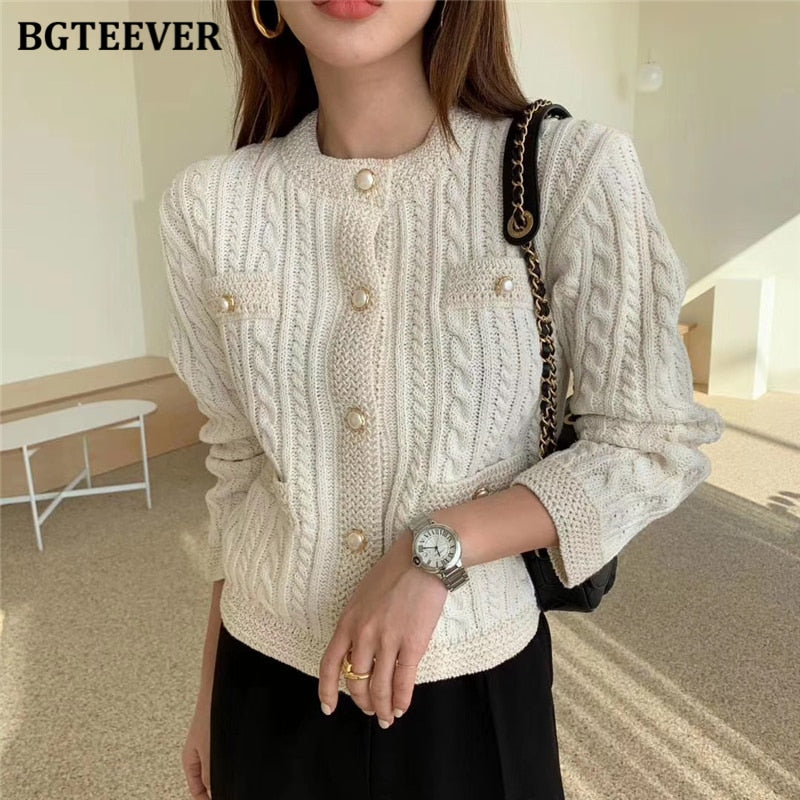 BGTEEVER Elegant Women O-neck Knitted  Single-breasted Slim Twisted  O-neck Outwear Tops