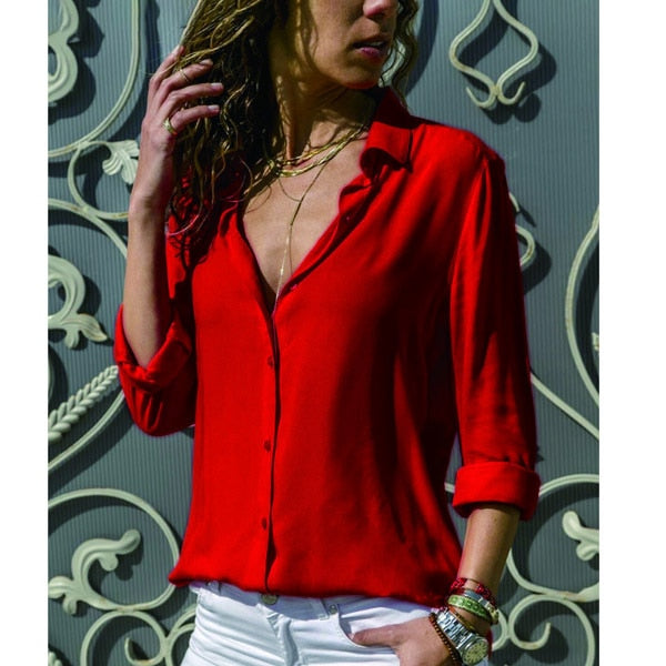 Women White Blouses Basic Selling Button Solid 2020 Autumn Long Sleeve Shirt Female Chiffon Women's Slim Clothing Plus Size Tops