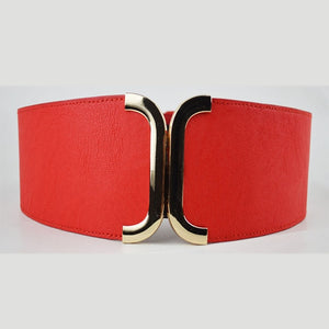 Fashion Women Elastic Belts Luxury Brand PU Leather Gold Buckle Waist Strap Stretchy Women Dress Adornment Ladies Wide Waistband