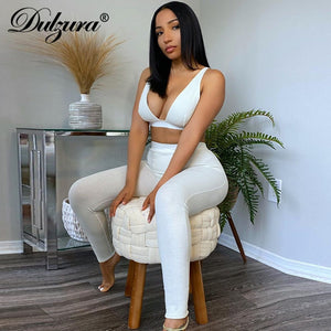 Dulzura Ribbed Women 2 Pieces V Neck Bra Leggings Set Crop Top Matching Co Ords 2020 Autumn Winter Clothes Sporty Tracksuit Club
