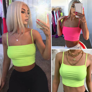 Womens Neon Green Camis Tanks Tops Sleeveless Cotton Bustier Unpadded Bandeau Bra Vest Crop Top Seamless Bralette Tees