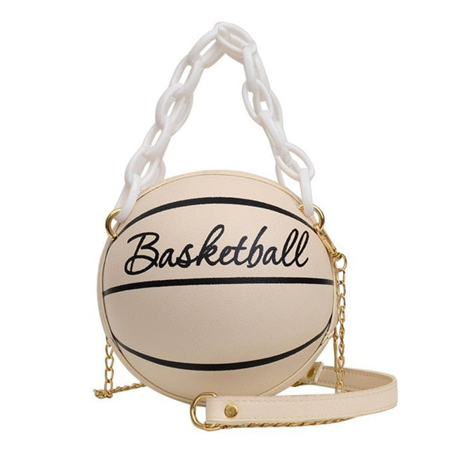 New Design Basketball Shape Hand Bag Fashion Women Chains Handbag Letter Shoulder Bag Female Mini Crossbody Bags Circular Purse
