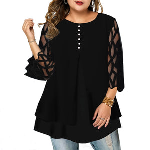 6XL Geometric Translucent Sleeve Plus Size Blouse Casual Button Womens Tops Blouses Ruffled Long Sleeve Shirts Blusas D30