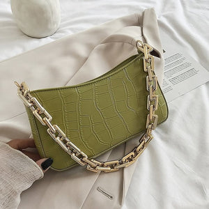 Stone Pattern PU Leather Armpit Bag For Women 2021 Solid Color Chain Shoulder Handbags Female Travel Fashion  Hand Bag