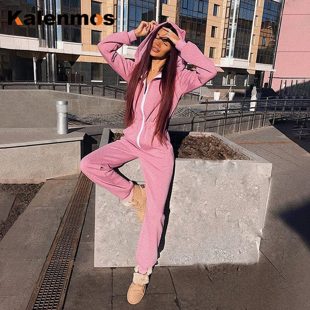 Rompers Sexy Jumpsuit Women Tracksuit Spring Summer Hooded Cat Ear Long Bodysuit Chic Work Sweatshirt Slim Ropa Cute Streetwear