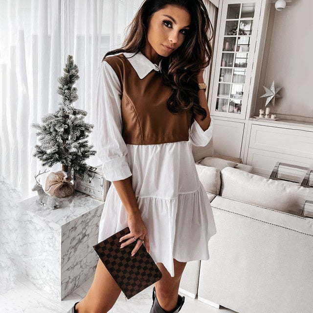 Casual Long Sleeve Mini Shirt Dress For Women White 2021 Spring PU Leather Patchwork Plaid Woman Dresses Clothing Femme Robe
