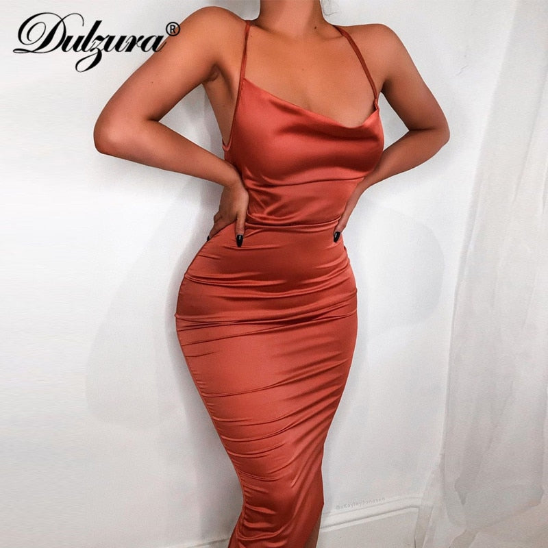 Dulzura neon satin lace up 2021 summer women bodycon long midi dress sleeveless backless elegant party outfits sexy club clothes