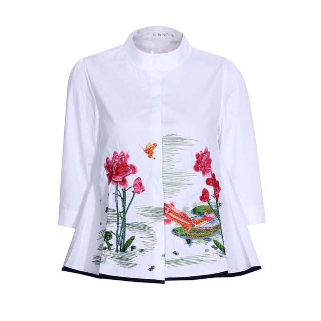SALE Abstract Embroidery Shirt Tops Women Summer Autumn Fashion 3/4 Sleeve Casual Blouses Ladies White Doll Shirts Droshipping