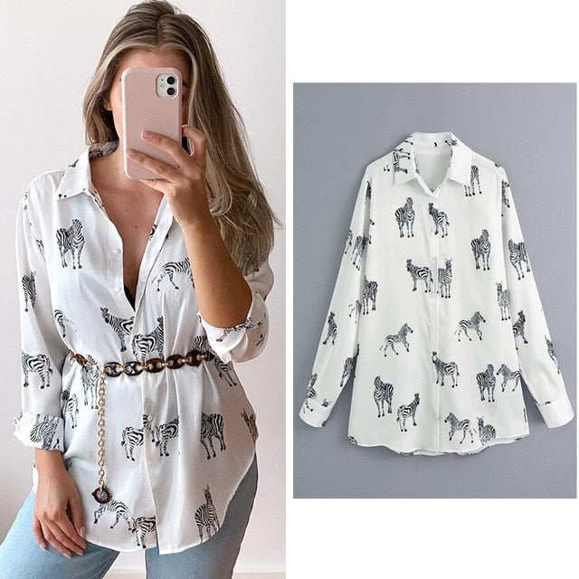 women satin blouse long sleeve zebra print shirts vintage office ladies tops femme chandails za 2020 fashion blusa de mujer ins