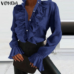 Elegant Women Blouse Shirts Demin Office Ladies Tops 2021 VONDA Casual Long Sleeve Lapel Neck Party Shirts Plus Size Women'Tunic