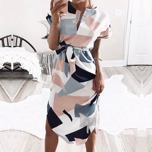 2021 Women Midi Party Dresses Geometric Print Summer Boho Beach Dress Loose Batwing Sleeve Dress Vestidos Plus Size