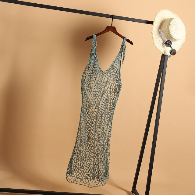 H80&S90 New Sexy Crochet Backless Beach Long Dress Women Handmade Sleeveless Hollow Out Boho Maxi Female Dresses Pareos Clothes
