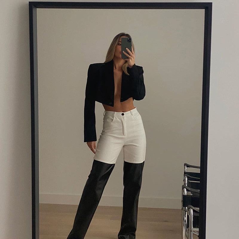 High-waisted straight barrel PU skin stitching Casual pants 2021 New Fashion Femme Fitness Leather Sexy Slim Trouses