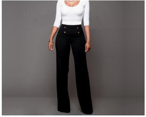 Fashion Slim High Waist Button Flare Pants Women Trousers Female Sexy Office Lady Casual Wide Leg Trouse Stretch Long Pant