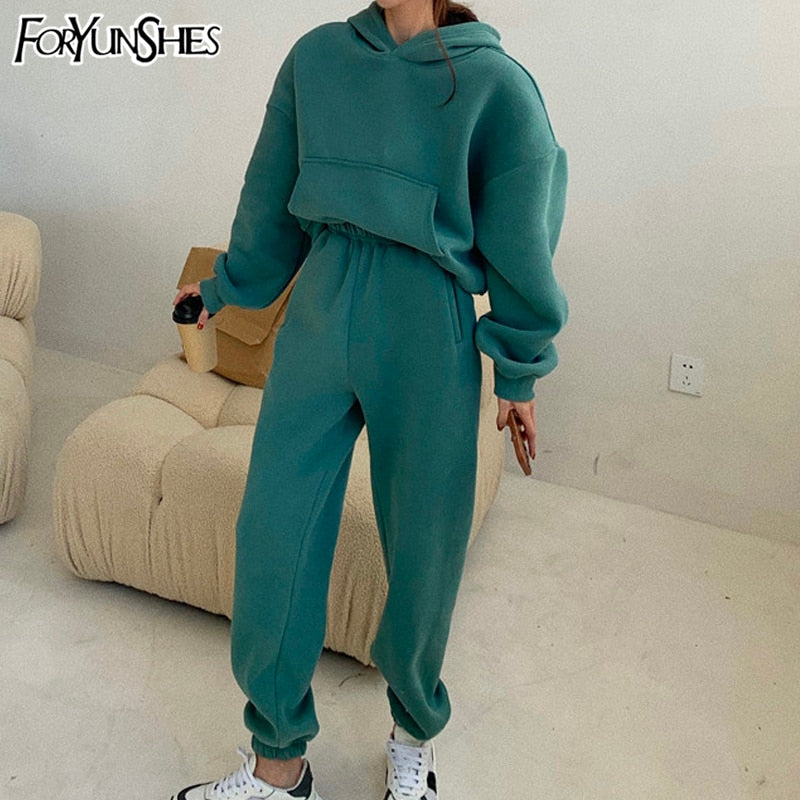 Y2k Oversized Tracksuit Women Suit Fleece Hoodies Casual Sports Set Sweatshirts Pullover Jogging Sweatpants Korean Fashion 2021