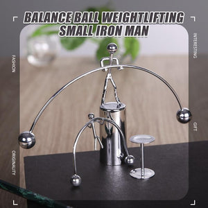 Creative balance ball weightlifting small iron man