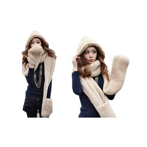Conjoined Hat Scarf Gloves Set ( New Year Special Price)