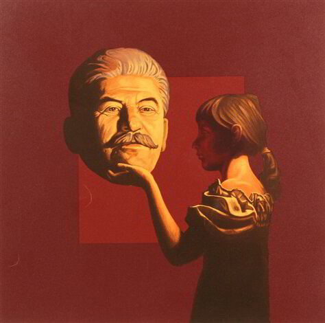 Komar and Melamid, Girl and Stalin (c. 1992). Lithograph. 77 x 76 cm. (30.3 x 29.9 in.)