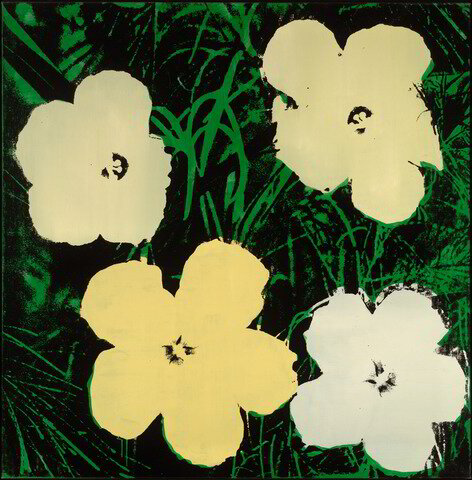 Image courtesy of the Yale University Art Gallery.  Andy Warhol, Flowers (1964). Silkscreen on canvas. Image: 119.7 × 117.2 × 2.5 cm (47 1/8 × 46 1/8 × 1 in.). Framed: 125.1 × 122.9 × 4.4 cm (49 1/4 × 48 3/8 × 1 3/4 in.)