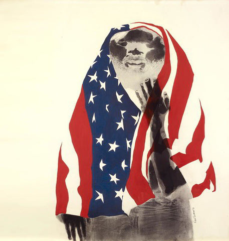 David Hammons, America the Beautiful (1968). Lithograph and body print. 39 x 29 1/2 in. (99.1 x 74.9 cm.). Hammer Museum at the University of California, Los Angeles. Oakland Museum of California, Founders Fund. Photo by Ed Glendinning