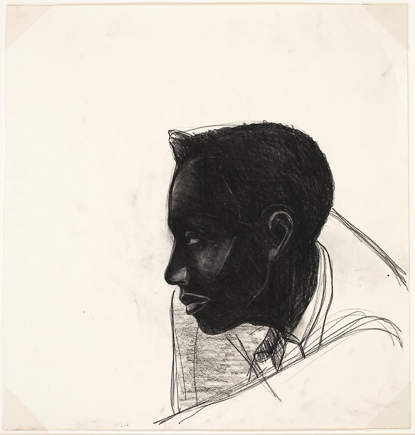 Kerry James Marshall, Study for Many Mansions (n.d.). Black and white Conté crayon, with stumping, on ivory wove paper. 663 × 635 mm. Art Institute of Chicago. Gift of Kerry James Marshall