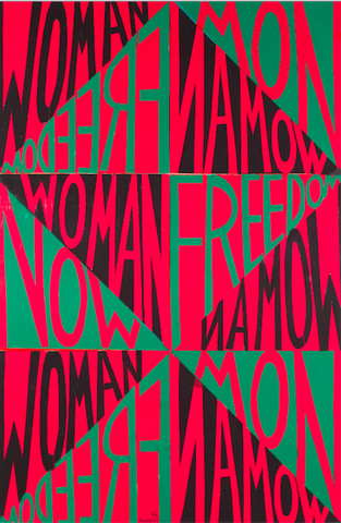 """Faith Ringgold, Woman Freedom Now (1971). Cut-and-pasted colored paper on board. 30 × 20"""" (76.2 × 50.8 cm) © 2020 Faith Ringgold / Artists Rights Society (ARS), New York, Courtesy ACA Galleries, New York"""