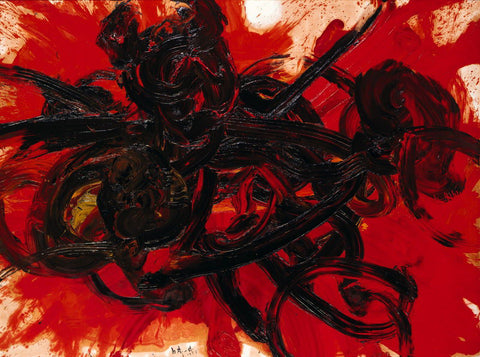 Shiraga Kazuo Work II (1958). Oil on Torinokogami paper, mounted on canvas. 183 x 243 cm Hyogo Prefectural Museum of Art, Kobe