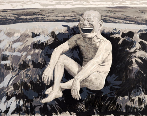 Yue Minjun, The Grassland Series Screenprint 1 (Sitting Man Laughing) (2008). 73.7 x 94 cm (29 x 37 in.) Published by Pace Editions Inc./Ethan Cohen Fine Arts Harvard Art Museums/Fogg Museum, Gift of Richard Solomon and Ethan Cohen
