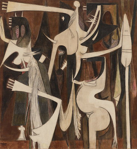 Wifredo Lam, Arpas cardinales (Cardinal Harps) (1948-1957). Oil and charcoal on canvas. 83 ½ × 77 ¼ in. (212.1 × 196.2 cm.) © Artists Rights Society (ARS), New York / ADAGP, Paris
