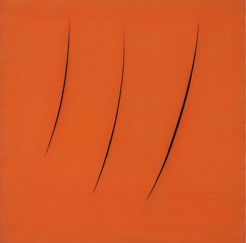 Lucio Fontana, Spatial Concept, Expectations (Concetto Spaziale, Attese) (1959). Oil on canvas. 35 3/4 × 35 3/4 in. (90.8 × 90.8 cm)