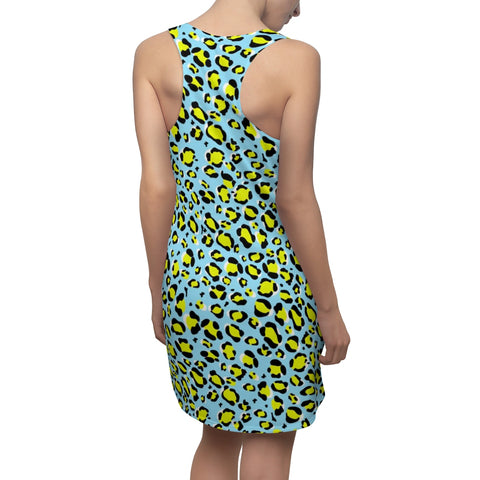 Image of Leopard Blue n Yellow Women's Cut & Sew Racerback Dress-All Over Prints-pnkswn
