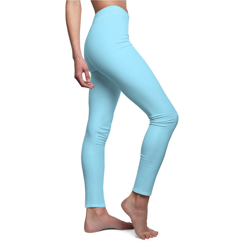 Solid Neon Blue Casual Leggings-All Over Prints-pnkswn