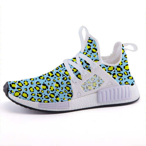 Leopard Blue n Yellow Print Lightweight Sports Shoes-Shoes-pnkswn
