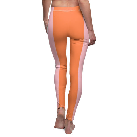 Slimming Stripes Orange Casual Leggings-All Over Prints-pnkswn