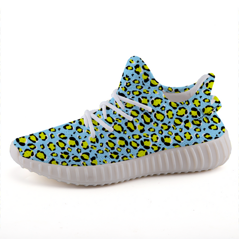 Leopard Blue n Yellow Print Lightweight Sneakers-Shoes-pnkswn