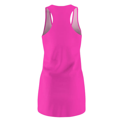 Solid Neon Pink Women's Cut & Sew Racerback Dress-All Over Prints-pnkswn