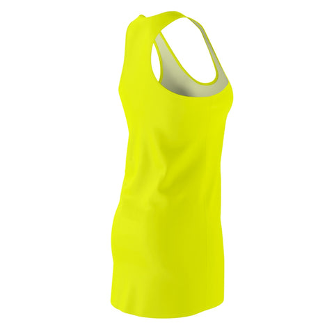 Solid Neon Yellow Women's Cut & Sew Racerback Dress-All Over Prints-pnkswn