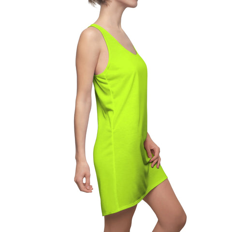 Solid Neon Green Women's Cut & Sew Racerback Dress-All Over Prints-pnkswn