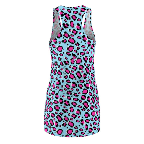 Image of Leopard Blue n Pink Women's Cut & Sew Racerback Dress-All Over Prints-pnkswn