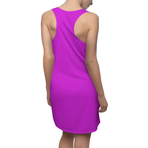 Image of Solid Neon Purple Women's Cut & Sew Racerback Dress-All Over Prints-pnkswn