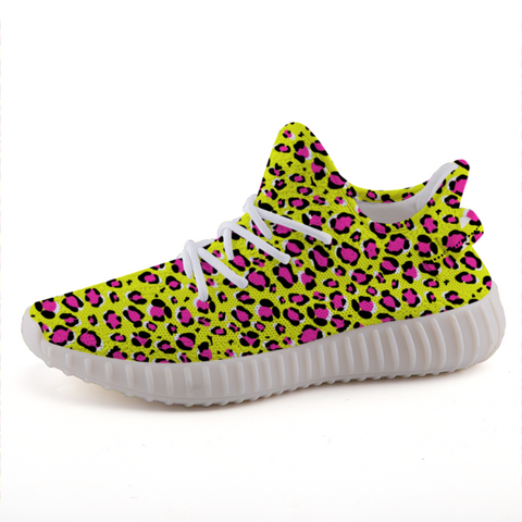 Leopard Yellow n Pink Print Lightweight Sneakers-Shoes-pnkswn
