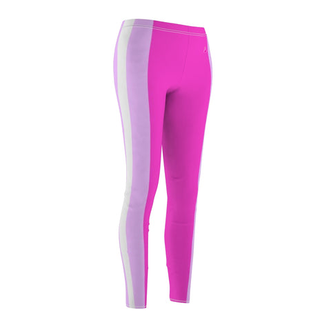 Slimming Stripes Pink Casual Leggings-All Over Prints-pnkswn