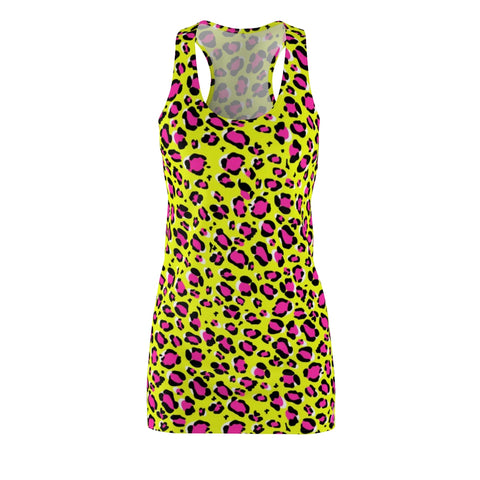 Leopard Yellow n Pink Women's Cut & Sew Racerback Dress-All Over Prints-pnkswn