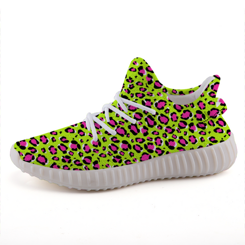 Leopard Green n Pink Print Lightweight Sneakers-Shoes-pnkswn