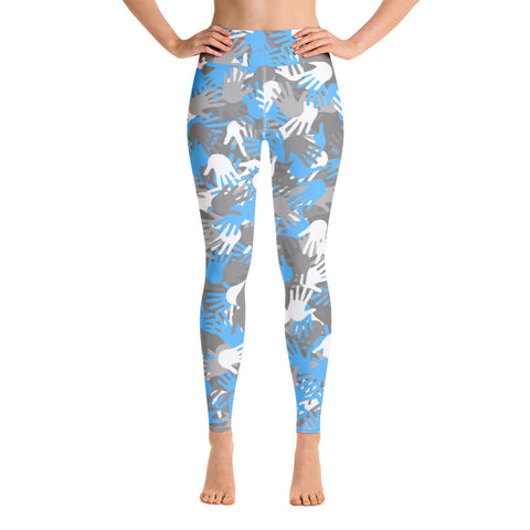 Camo Blue Palms Print Yoga Leggings-pnkswn